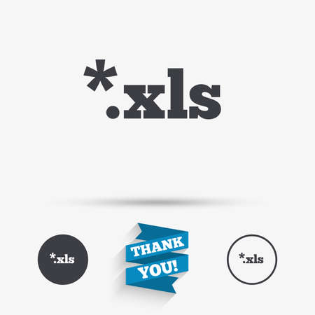 xls: Excel file document icon. Download xls button. XLS file extension symbol. Flat icons. Buttons with icons. Thank you ribbon. Vector