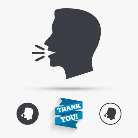 loud noise: Talk or speak icon. Loud noise symbol. Human talking sign. Flat icons. Buttons with icons. Thank you ribbon. Vector Illustration