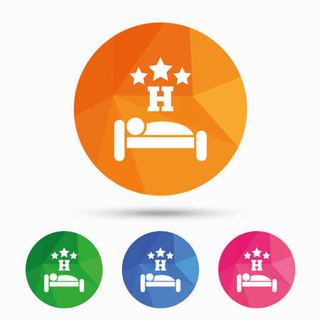 Three star Hotel apartment sign icon. Travel rest place. Sleeper symbol. Triangular low poly button with flat icon. Vector