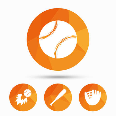 Baseball sport icons. Ball with glove and bat signs. Fireball symbol. Triangular low poly buttons with shadow. Vector