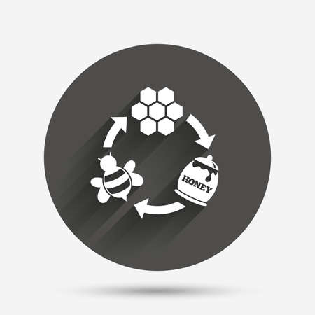 beeswax: Producing honey and beeswax sign icon. Honeycomb cells symbol. Honey in pot. Sweet natural food cycle in nature. Circle flat button with shadow. Vector