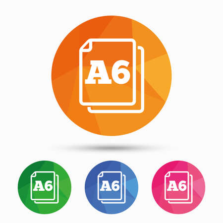 Paper size A6 standard icon. File document symbol. Triangular low poly button with flat icon. Vector
