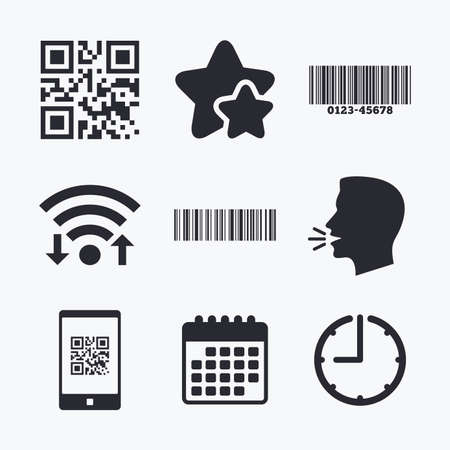 barcode scan: Bar and Qr code icons. Scan barcode in smartphone symbols. Wifi internet, favorite stars, calendar and clock. Talking head. Vector