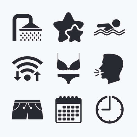 short wave: Swimming pool icons. Shower water drops and swimwear symbols. Human swims in sea waves sign. Trunks and women underwear. Wifi internet, favorite stars, calendar and clock. Talking head. Vector