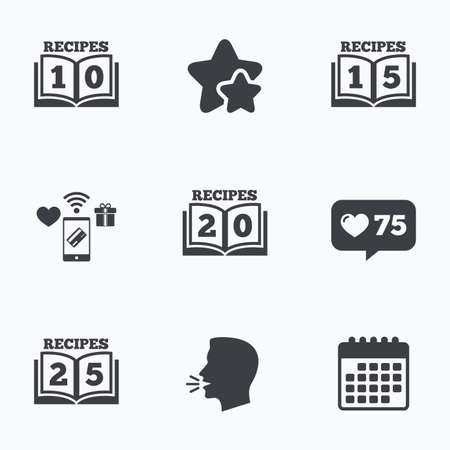 15 to 20: Cookbook icons. 10, 15, 20 and 25 recipes book sign symbols. Flat talking head, calendar icons. Stars, like counter icons. Vector