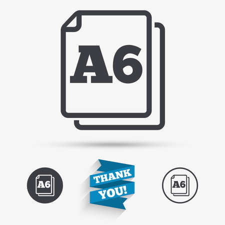 Paper size A6 standard icon. File document symbol. Flat icons. Buttons with icons. Thank you ribbon. Vector Illustration