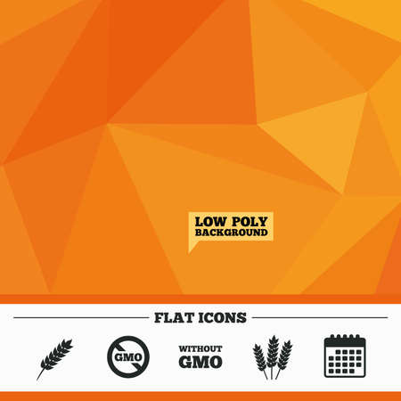 genetically modified crops: Triangular low poly orange background. Agricultural icons. Gluten free or No gluten signs. Without Genetically modified food symbols. Calendar flat icon. Vector