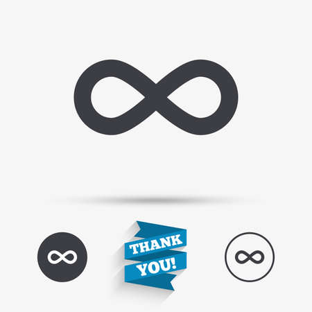 eternally: Limitless sign icon. Infinity symbol. Flat icons. Buttons with icons. Thank you ribbon. Vector