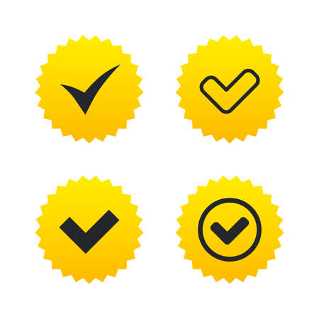 confirm: Check icons. Checkbox confirm circle sign symbols. Yellow stars labels with flat icons. Vector Illustration