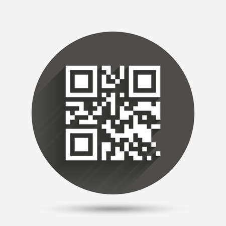 coded: Qr code sign icon. Scan code symbol. Coded word - success! Circle flat button with shadow. Vector
