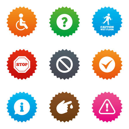 wet floor sign: Attention caution icons. Question mark and information signs. Injury and disabled person symbols. Stars label button with flat icons. Vector