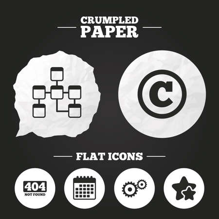 copyrights: Crumpled paper speech bubble. Website database icon. Copyrights and gear signs. 404 page not found symbol. Under construction. Paper button. Vector