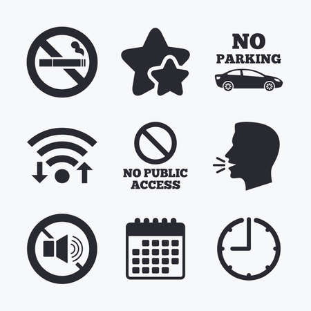wifi access: Stop smoking and no sound signs. Private territory parking or public access. Cigarette symbol. Speaker volume. Wifi internet, favorite stars, calendar and clock. Talking head. Vector Illustration
