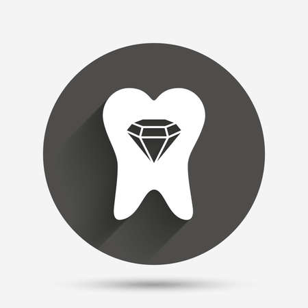 prestige: Tooth crystal icon. Tooth jewellery sign. Dental prestige symbol. Circle flat button with shadow. Vector