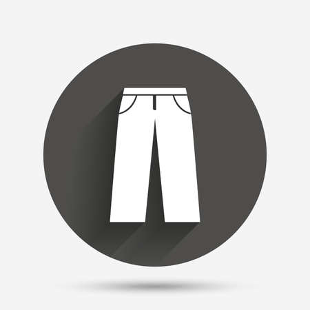 breeches: Mens jeans or pants sign icon. Casual clothing symbol. Circle flat button with shadow. Vector Illustration