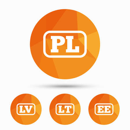 ee: Language icons. PL, LV, LT and EE translation symbols. Poland, Latvia, Lithuania and Estonia languages. Triangular low poly buttons with shadow. Vector Illustration