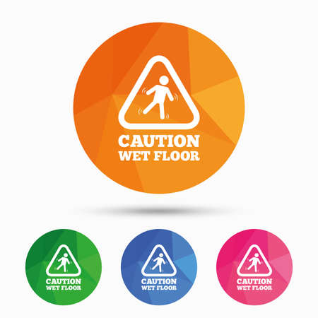 wet floor sign: Caution wet floor sign icon. Human falling triangle symbol. Triangular low poly button with flat icon. Vector
