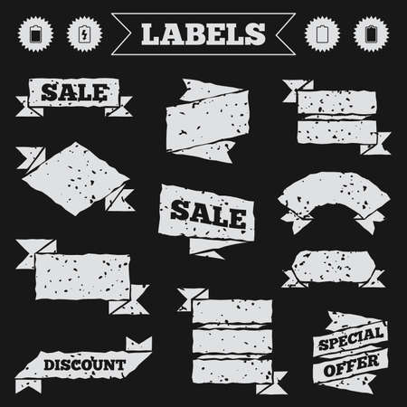 electrochemical: Stickers, tags and banners with grunge. Battery charging icons. Electricity signs symbols. Charge levels: full, empty. Sale or discount labels. Vector