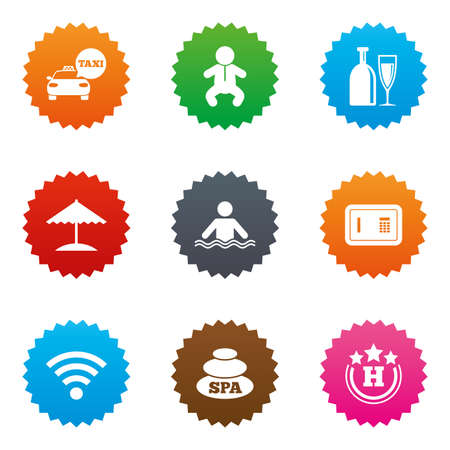 Hotel, apartment service icons. Spa, swimming pool signs. Alcohol drinks, wifi internet and safe symbols. Stars label button with flat icons. Vector Illustration