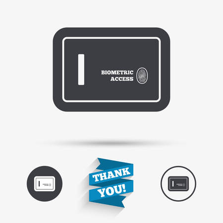 biometric: Safe sign icon. Deposit lock symbol. Biometric access by fingerprint. Flat icons. Buttons with icons. Thank you ribbon. Vector
