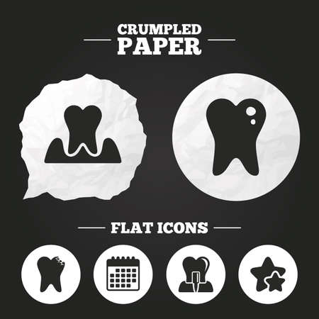 gingivitis: Crumpled paper speech bubble. Dental care icons. Caries tooth sign. Tooth endosseous implant symbol. Parodontosis gingivitis sign. Paper button. Vector