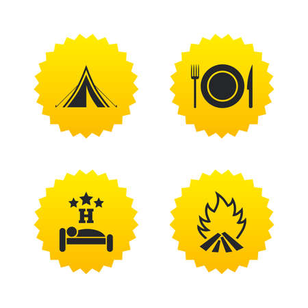 Food, sleep, camping tent and fire icons. Knife, fork and dish. Hotel or bed and breakfast. Road signs. Yellow stars labels with flat icons. Vector