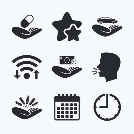 head protection: Helping hands icons. Protection and insurance symbols. Save money, car and health medical insurance. Agriculture wheat sign. Wifi internet, favorite stars, calendar and clock. Talking head. Vector