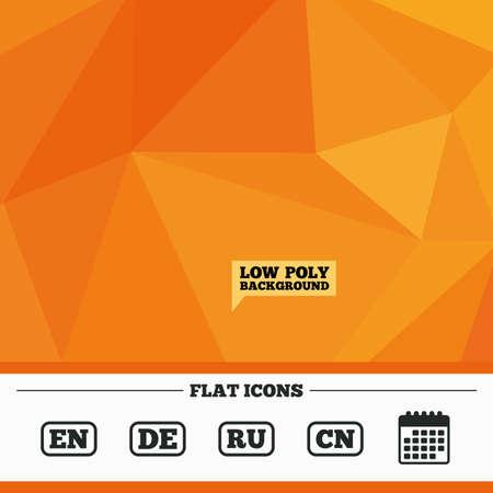 en: Triangular low poly orange background. Language icons. EN, DE, RU and CN translation symbols. English, German, Russian and Chinese languages. Calendar flat icon. Vector