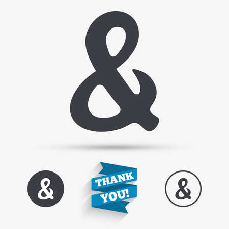logical: Ampersand rounded sign icon. Programming logical operator AND. Wedding invitation symbol. Flat icons. Buttons with icons. Thank you ribbon. Vector Illustration