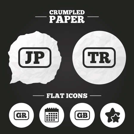 tr: Crumpled paper speech bubble. Language icons. JP, TR, GR and GB translation symbols. Japan, Turkey, Greece and England languages. Paper button. Vector