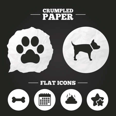 feces: Crumpled paper speech bubble. Pets icons. Dog paw and feces signs. Clean up after pets. Pets food. Paper button. Vector Illustration