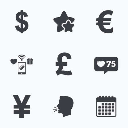 jpy: Dollar, Euro, Pound and Yen currency icons. USD, EUR, GBP and JPY money sign symbols. Flat talking head, calendar icons. Stars, like counter icons. Vector