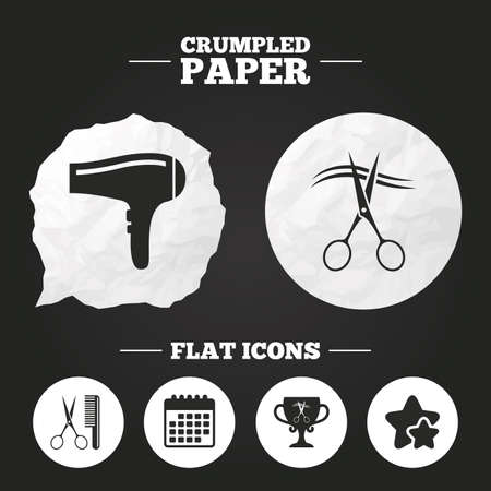 comb hair: Crumpled paper speech bubble. Hairdresser icons. Scissors cut hair symbol. Comb hair with hairdryer symbol. Barbershop winner award cup. Paper button. Vector Illustration