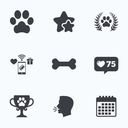 treat like a dog: Pets icons. Dog paw sign. Winner laurel wreath and cup symbol. Pets food. Flat talking head, calendar icons. Stars, like counter icons. Vector