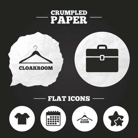 paper hanger: Crumpled paper speech bubble. Cloakroom icons. Hanger wardrobe signs. T-shirt clothes and baggage symbols. Paper button. Vector