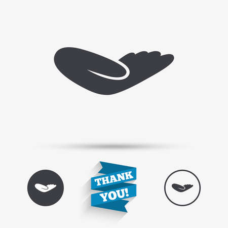 endowment: Donation hand sign icon. Charity or endowment symbol. Human helping hand palm. Flat icons. Buttons with icons. Thank you ribbon. Vector