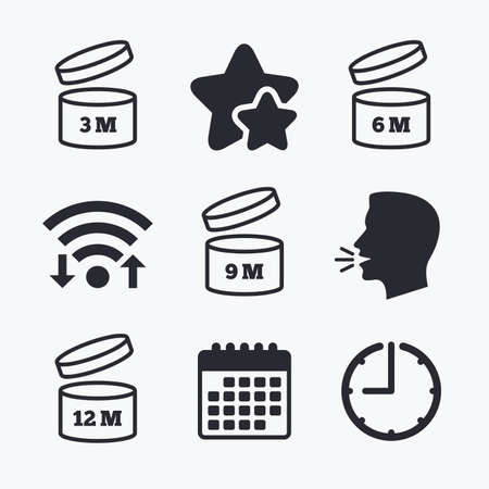 unfit: After opening use icons. Expiration date 6-12 months of product signs symbols. Shelf life of grocery item. Wifi internet, favorite stars, calendar and clock. Talking head. Vector Illustration