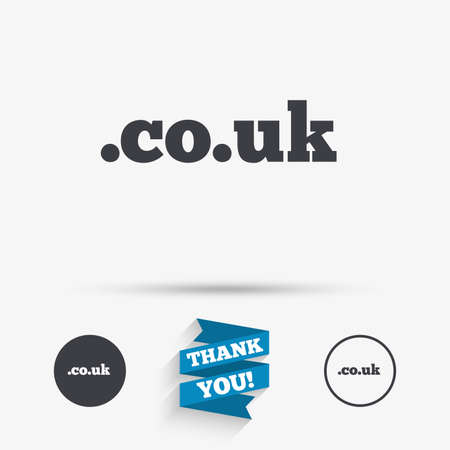 subdomain: Domain CO.UK sign icon. UK internet subdomain symbol. Flat icons. Buttons with icons. Thank you ribbon. Vector