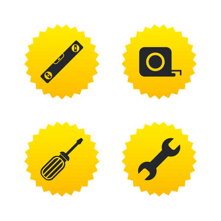 Screwdriver and wrench key tool icons. Bubble level and tape measure roulette sign symbols. Yellow stars labels with flat icons. Vector Illustration