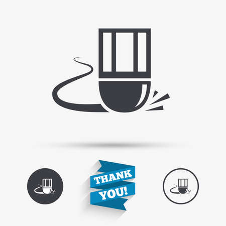 erase: Eraser icon. Erase pencil line symbol. Correct or Edit drawing sign. Flat icons. Buttons with icons. Thank you ribbon. Vector Illustration