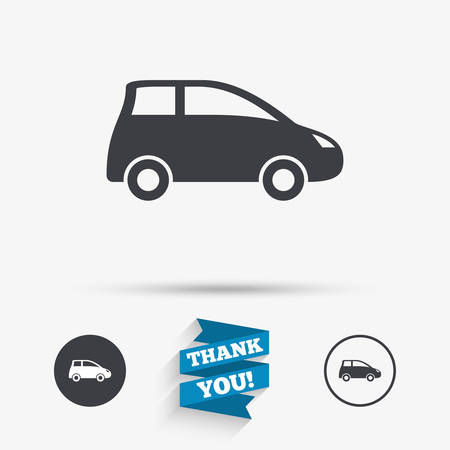 hatchback: Car sign icon. Hatchback symbol. Transport. Flat icons. Buttons with icons. Thank you ribbon. Vector