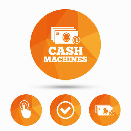 withdrawals: ATM cash machine withdrawal icons. Click here, check PIN number, processing and cash withdrawal symbols. Triangular low poly buttons with shadow. Vector