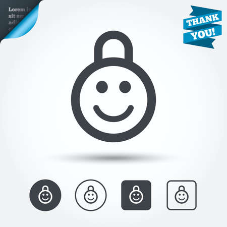 child protection: Child lock icon. Locker with smile symbol. Child protection. Circle and square buttons. Flat design set. Thank you ribbon. Vector