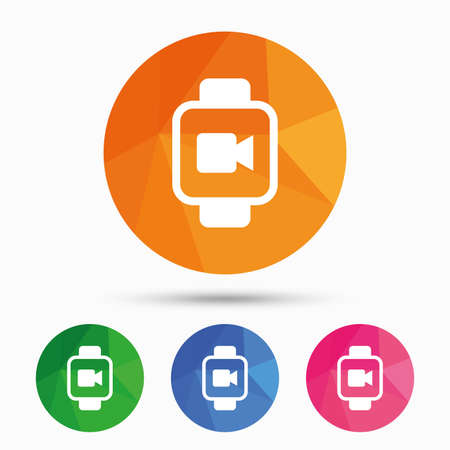 watch video: Smart watch sign icon. Wrist digital watch. Video camera symbol. Triangular low poly button with flat icon. Vector
