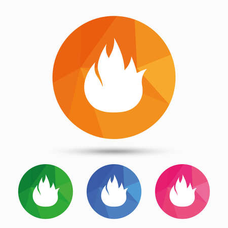 fire escape: Fire flame sign icon. Fire symbol. Stop fire. Escape from fire. Triangular low poly button with flat icon. Vector