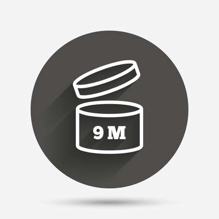 expiration date: After opening use 9 months sign icon. Expiration date. Circle flat button with shadow. Vector Illustration