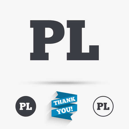 pl: Polish language sign icon. PL translation symbol. Flat icons. Buttons with icons. Thank you ribbon. Vector Illustration