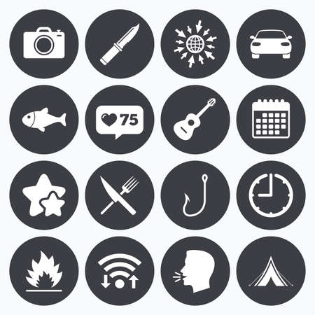 Calendar, wifi and clock symbols. Like counter, stars symbols. Camping travel icons. Fishing, campfire and tourist tent signs. Guitar music, fork and knife symbols. Talking head, go to web symbols. Vector Illustration