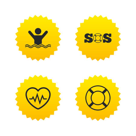 drowns: SOS lifebuoy icon. Heartbeat cardiogram symbol. Swimming sign. Man drowns. Yellow stars labels with flat icons. Vector