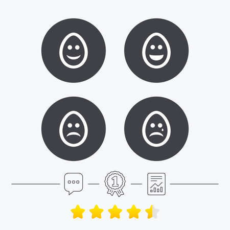 pasch: Eggs happy and sad faces icons. Crying smiley with tear symbols. Tradition Easter Pasch signs. Chat, award medal and report linear icons. Star vote ranking. Vector